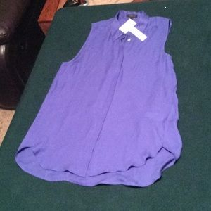 NWT blue silk sleeveless J-crew blouse in size 12